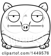 Cartoon Black And White Lineart Bored Tapir Character Mascot