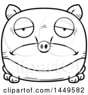 Clipart Graphic Of A Cartoon Black And White Lineart Sad Tapir Character Mascot Royalty Free Vector Illustration by Cory Thoman