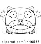 Cartoon Black And White Lineart Scared Tapir Character Mascot
