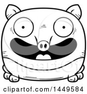 Cartoon Black And White Lineart Happy Tapir Character Mascot