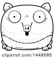 Cartoon Black And White Lineart Surprised Tapir Character Mascot