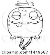 Clipart Graphic Of A Cartoon Black And White Lineart Drunk Tadpole Pollywog Character Mascot Royalty Free Vector Illustration by Cory Thoman