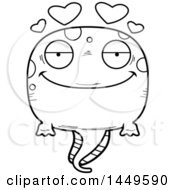 Poster, Art Print Of Cartoon Black And White Lineart Loving Tadpole Pollywog Character Mascot