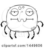 Cartoon Black And White Lineart Bored Spider Character Mascot