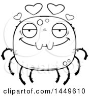 Cartoon Black And White Lineart Loving Spider Character Mascot
