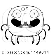 Clipart Graphic Of A Cartoon Black And White Lineart Happy Spider Character Mascot Royalty Free Vector Illustration by Cory Thoman