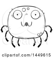 Clipart Graphic Of A Cartoon Black And White Lineart Surprised Spider Character Mascot Royalty Free Vector Illustration by Cory Thoman