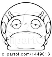 Clipart Graphic Of A Cartoon Black And White Lineart Sad Snail Character Mascot Royalty Free Vector Illustration by Cory Thoman