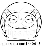Clipart Graphic Of A Cartoon Black And White Lineart Sly Snail Character Mascot Royalty Free Vector Illustration by Cory Thoman