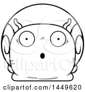 Clipart Graphic Of A Cartoon Black And White Lineart Surprised Snail Character Mascot Royalty Free Vector Illustration
