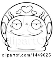 Cartoon Black And White Lineart Loving Snail Character Mascot