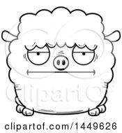 Cartoon Black And White Lineart Bored Sheep Character Mascot
