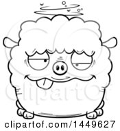 Cartoon Black And White Lineart Drunk Sheep Character Mascot