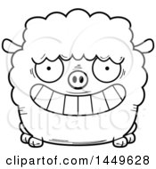 Cartoon Black And White Lineart Grinning Sheep Character Mascot