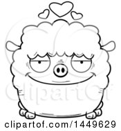 Clipart Graphic Of A Cartoon Black And White Lineart Loving Sheep Character Mascot Royalty Free Vector Illustration by Cory Thoman