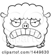 Clipart Graphic Of A Cartoon Black And White Lineart Mad Sheep Character Mascot Royalty Free Vector Illustration by Cory Thoman
