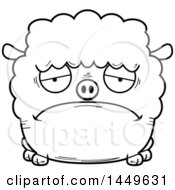 Clipart Graphic Of A Cartoon Black And White Lineart Sad Sheep Character Mascot Royalty Free Vector Illustration by Cory Thoman