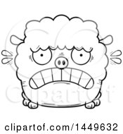 Clipart Graphic Of A Cartoon Black And White Lineart Scared Sheep Character Mascot Royalty Free Vector Illustration by Cory Thoman