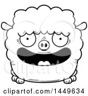 Cartoon Black And White Lineart Happy Sheep Character Mascot