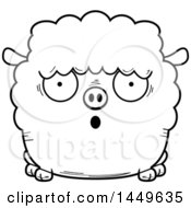 Cartoon Black And White Lineart Surprised Sheep Character Mascot