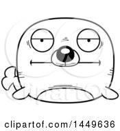 Cartoon Black And White Lineart Bored Seal Character Mascot