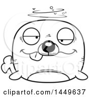 Clipart Graphic Of A Cartoon Black And White Lineart Drunk Seal Character Mascot Royalty Free Vector Illustration by Cory Thoman