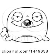 Cartoon Black And White Lineart Evil Seal Character Mascot