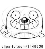 Cartoon Black And White Lineart Grinning Seal Character Mascot