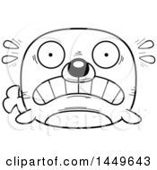 Clipart Graphic Of A Cartoon Black And White Lineart Scared Seal Character Mascot Royalty Free Vector Illustration by Cory Thoman