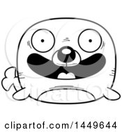 Clipart Graphic Of A Cartoon Black And White Lineart Happy Seal Character Mascot Royalty Free Vector Illustration by Cory Thoman