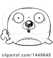 Clipart Graphic Of A Cartoon Black And White Lineart Surprised Seal Character Mascot Royalty Free Vector Illustration by Cory Thoman