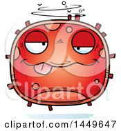 Cartoon Drunk Red Cell Character Mascot
