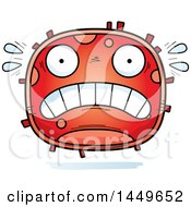 Clipart Graphic Of A Cartoon Scared Red Cell Character Mascot Royalty Free Vector Illustration