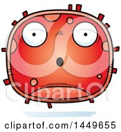Clipart Graphic Of A Cartoon Surprised Red Cell Character Mascot Royalty Free Vector Illustration