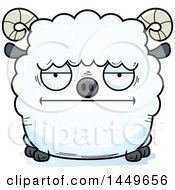 Cartoon Bored Ram Sheep Character Mascot