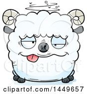 Cartoon Drunk Ram Sheep Character Mascot