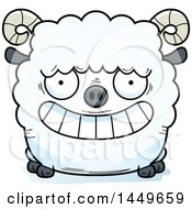 Clipart Graphic Of A Cartoon Grinning Ram Sheep Character Mascot Royalty Free Vector Illustration by Cory Thoman