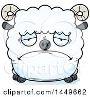 Cartoon Sad Ram Sheep Character Mascot
