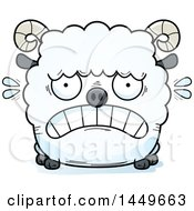 Clipart Graphic Of A Cartoon Scared Ram Sheep Character Mascot Royalty Free Vector Illustration by Cory Thoman