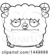 Clipart Graphic Of A Cartoon Black And White Lineart Bored Ram Sheep Character Mascot Royalty Free Vector Illustration by Cory Thoman