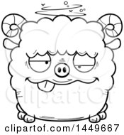 Cartoon Black And White Lineart Drunk Ram Sheep Character Mascot