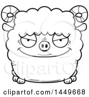 Cartoon Black And White Lineart Evil Ram Sheep Character Mascot