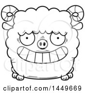 Cartoon Black And White Lineart Grinning Ram Sheep Character Mascot