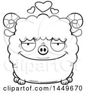 Poster, Art Print Of Cartoon Black And White Lineart Loving Ram Sheep Character Mascot