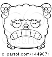 Cartoon Black And White Lineart Mad Ram Sheep Character Mascot