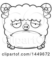 Cartoon Black And White Lineart Sad Ram Sheep Character Mascot
