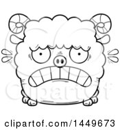 Cartoon Black And White Lineart Scared Ram Sheep Character Mascot