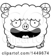 Clipart Graphic Of A Cartoon Black And White Lineart Happy Ram Sheep Character Mascot Royalty Free Vector Illustration by Cory Thoman