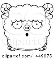 Clipart Graphic Of A Cartoon Black And White Lineart Surprised Ram Sheep Character Mascot Royalty Free Vector Illustration by Cory Thoman
