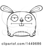 Cartoon Black And White Lineart Bored Bunny Rabbit Hare Character Mascot